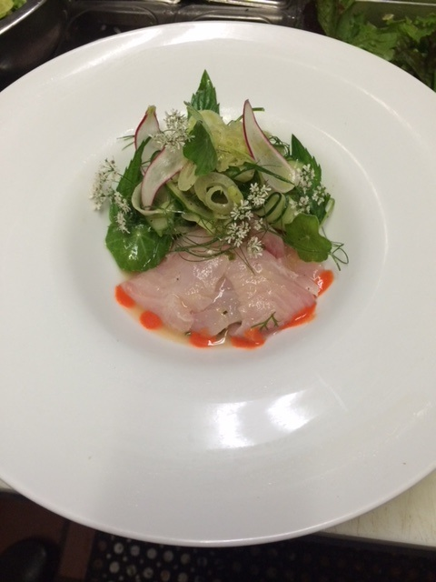 red snapper ceviche with coriander flowers