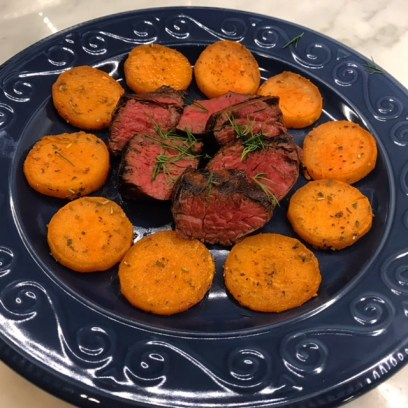 Grilled Hanger steak with sweet potato