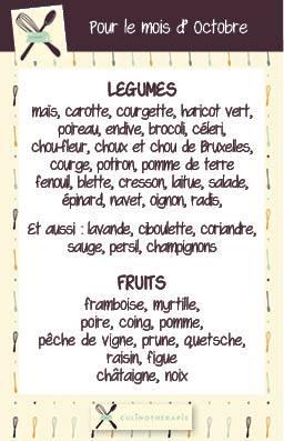 fruits et légumes d'octobre, cuisine saine, cuisine healthy, saison, locavore
