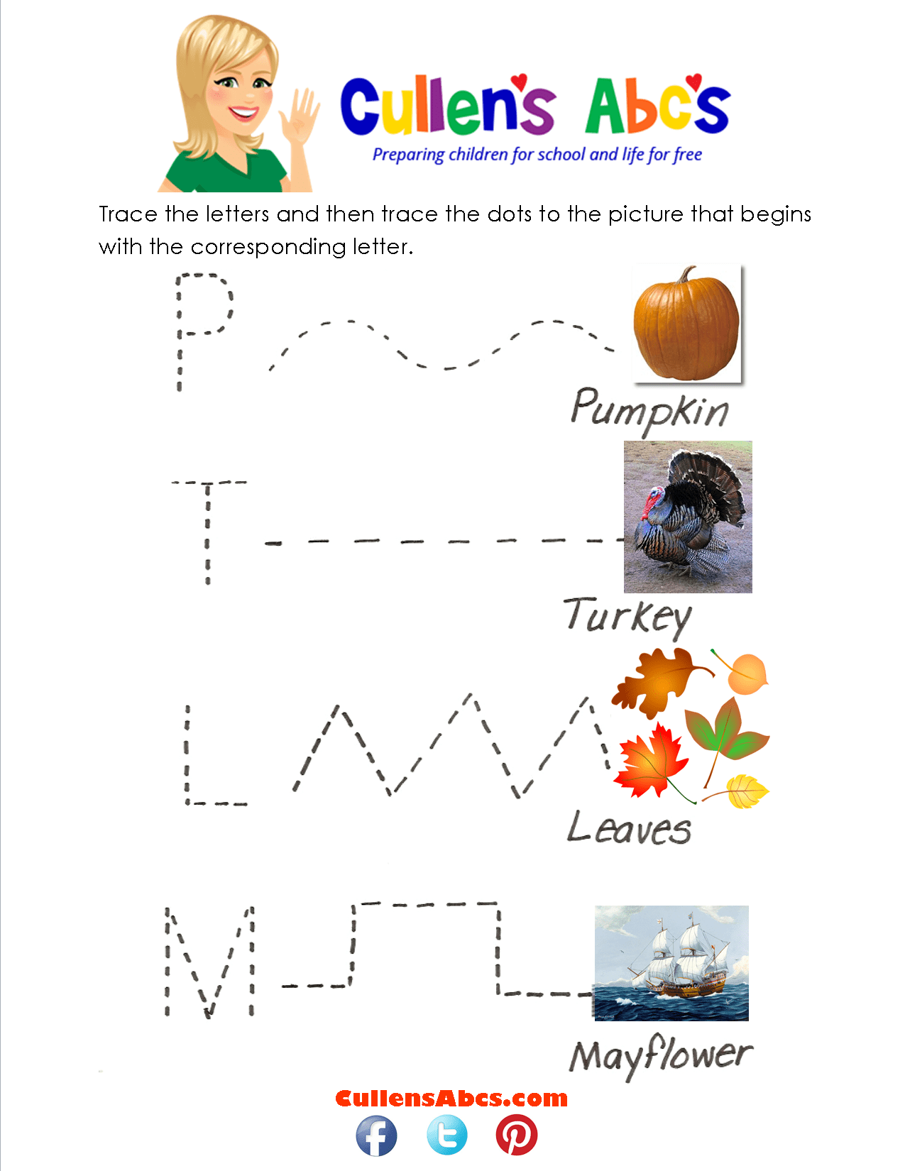 Thankful Tracing Worksheet