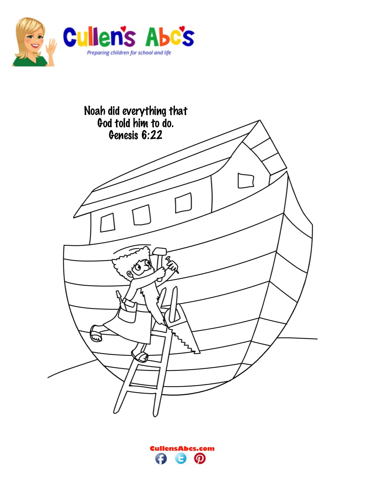 Bible Key Point Coloring Page Noah Builds The Ark