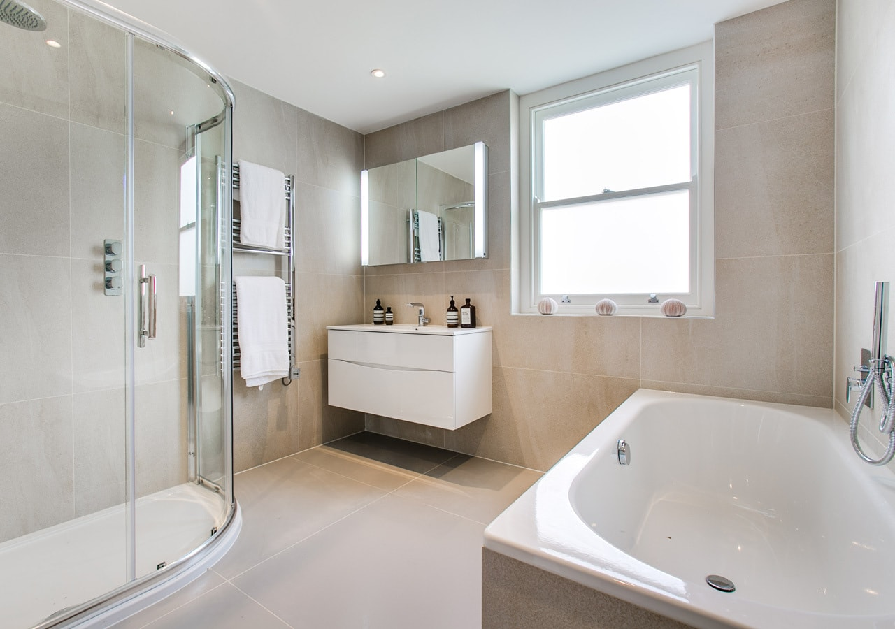 A classic contemporary Fulham Townhouse bathroom designed by Nicola Scannell Design and Home Staged by Cullum Design   London UK