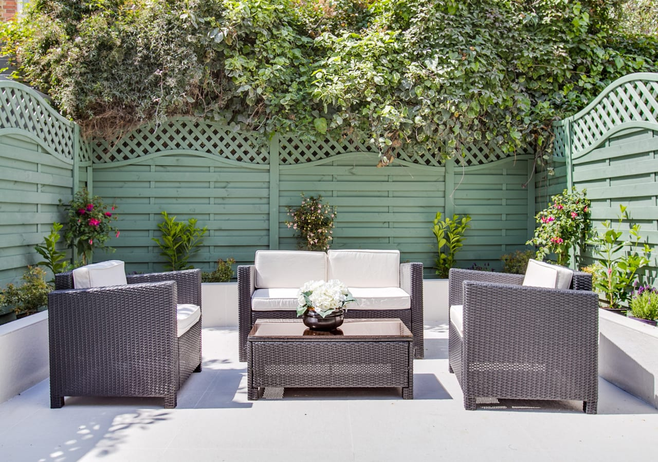 A classic contemporary Fulham Townhouse garden designed by Nicola Scannell Design and Home Staged by Cullum Design   London UK