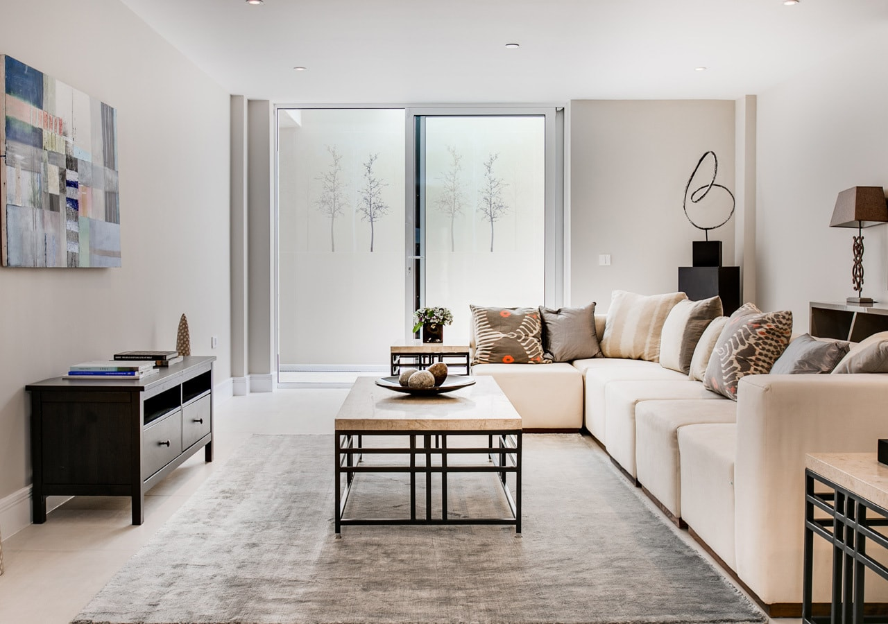 A classic contemporary Fulham Townhouse Media room designed by Nicola Scannell Design and Home Staged by Cullum Design   London UK