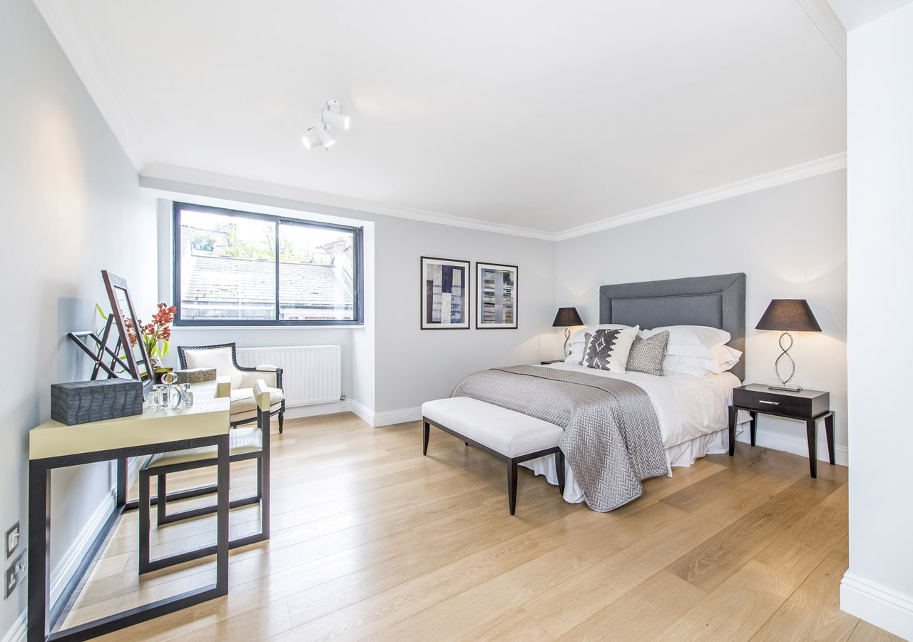 Light and spacious apartment bedroom home staged by Cullum Design   London UK