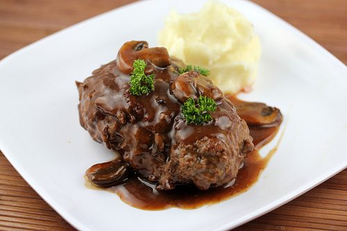Salisbury Steak with Mushroom and Wine Sauce
