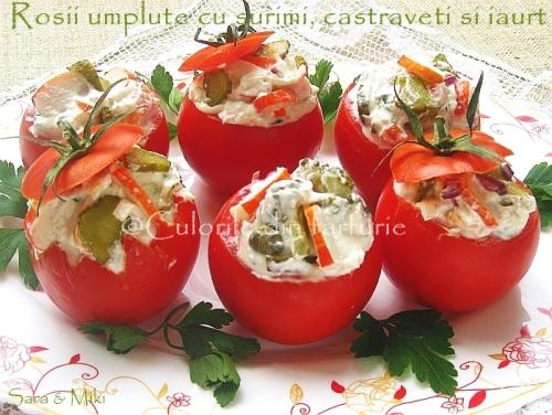 Rosii umplute cu surimi, castraveti murati si iaurt 2-1