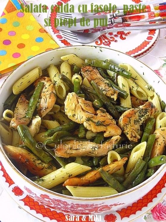 Salata-calda-cu-fasole, paste-si-piept-de-pui0