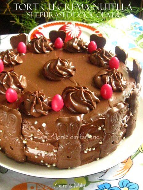 Tort-cu-crema-nutella-si-iepurasi-de-ciocolata-2