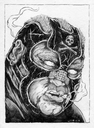 "Guest Starring Vader as Bane by James Jirat Patradoon Pencil on paper 7"" x 10"" $500"