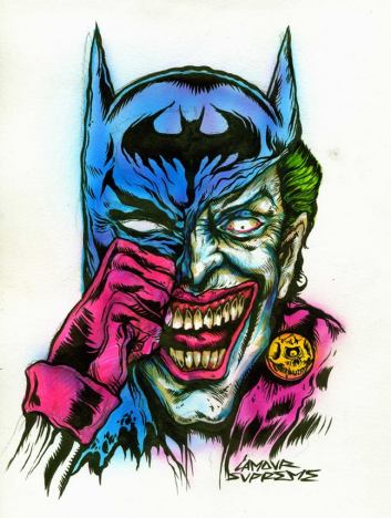 "Jokebat Portrait by L'Amour Supreme Ink and acrylics 8"" x 11"" $600"