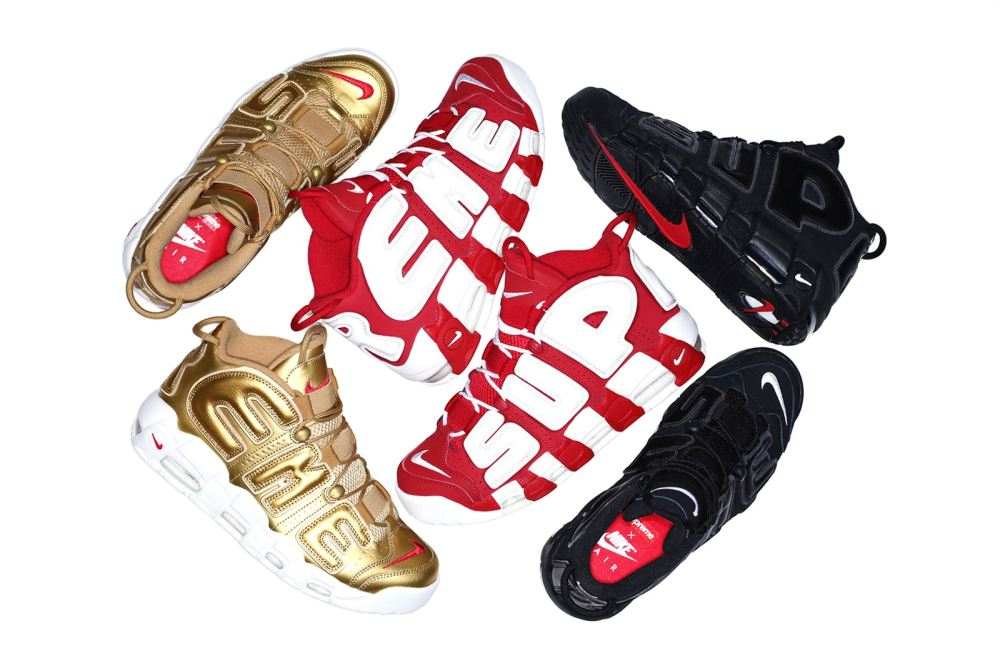 Nike Air More Uptempo red white black gold suptempo