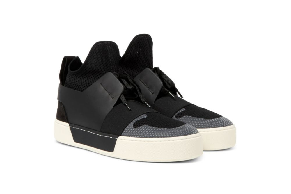 balenciaga leather suede mesh high top