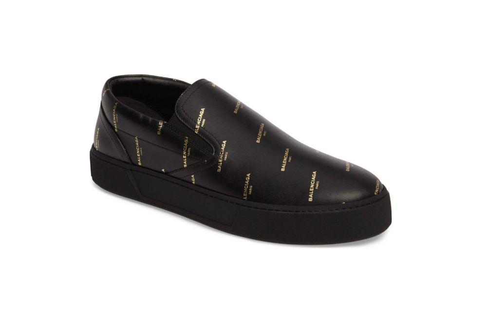 balenciaga skate slip on noir leather