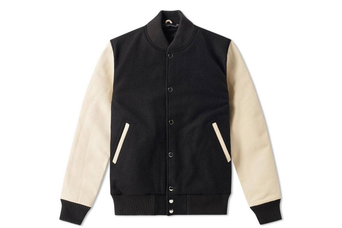 Varsity Jacket Baseball Letterman Bomber School College Black Wool /&Genuine Golden Leather Sleeves