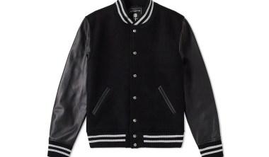 mastermind japan leather cashmere varsity jacket black