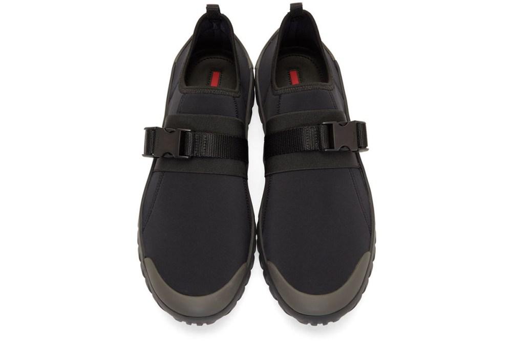 prada frog sneakers black