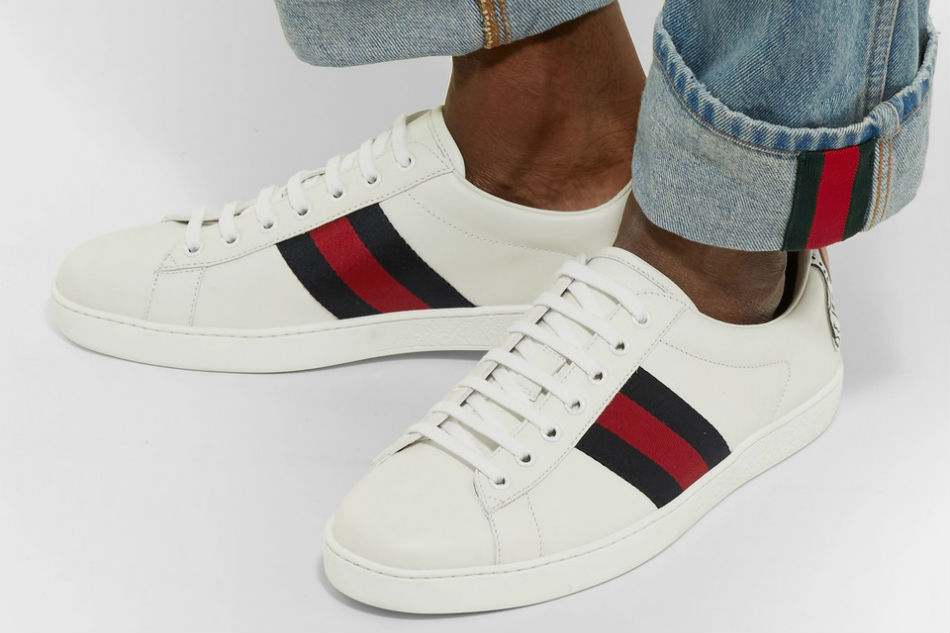 gucci ace crocodile trimmed sneakers