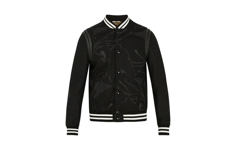 Valentino Panther print wool varsity jacket