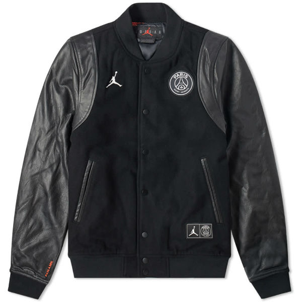 air jordan x psg varsity jacket black