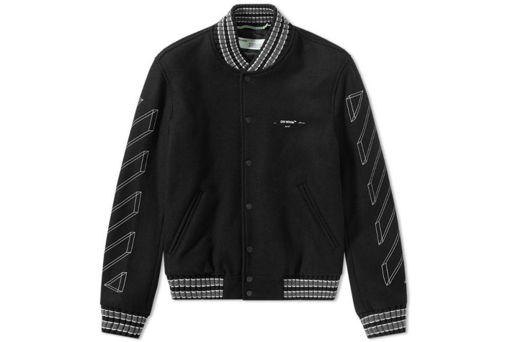 Off-White Diagonal 3D Line Skinny Varsity Jacket