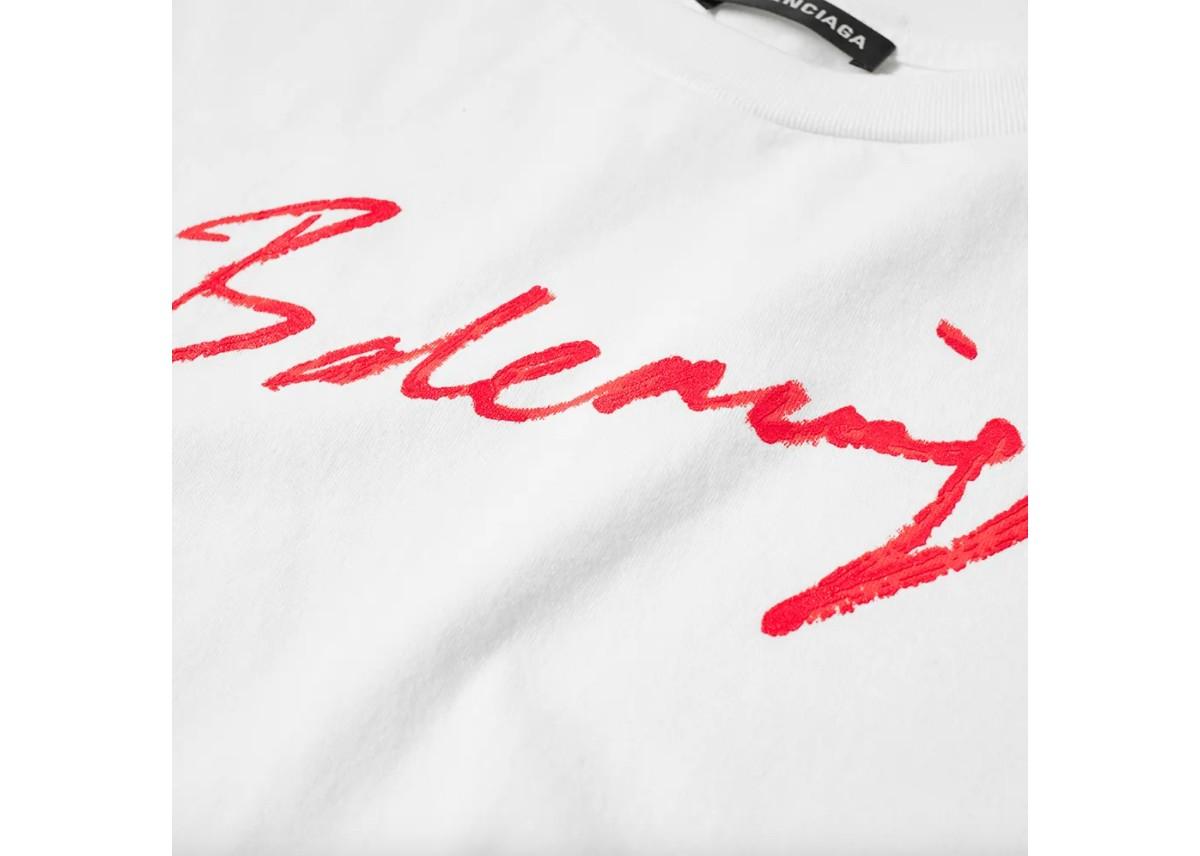 Street Ready: Balenciaga Signature Logo Tee White Red