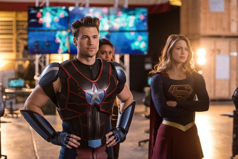 "DC's Legends of Tomorrow --""Invasion!""-- Image LGN207c_0435.jpg -- Pictured (L-R): Nick Zano as Nate Heywood/Steel and Melissa Benoist as Kara/Supergirl -- Photo: Diyah Pera/The CW -- © 2016 The CW Network, LLC. All Rights Reserved"
