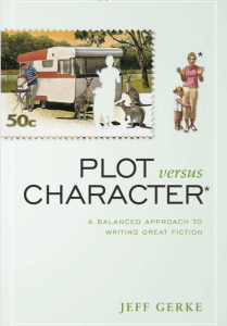 Book Cover, plot versus character. It a photo where a mother and daughter have been cut out of a domestic scene where the father is grilling next to a camper.
