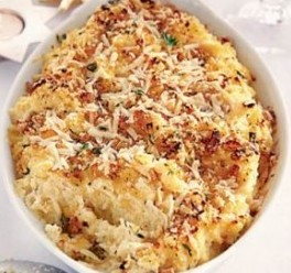Winter root mash with buttery crumbs