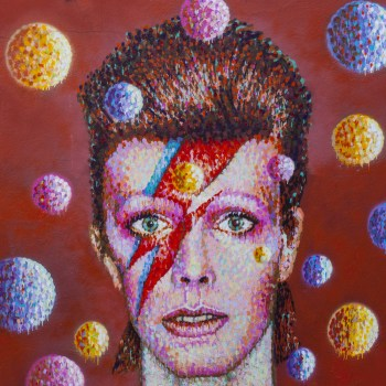 An illustration of David Bowie.