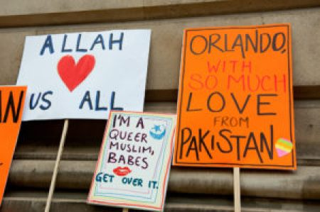 Hand-made signs from Muslims that express their support of the LGBT+ community.