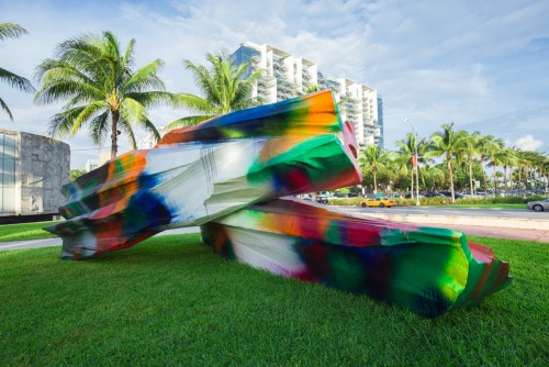 A colorful sculpture displayed in Collins Park as part of the 2015 Miami Art Basel.