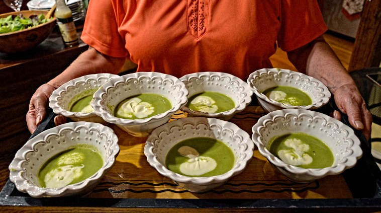 THE FIRST COURSE - FRESH PEA SOUP GARNISHED WITH CREME FRESH