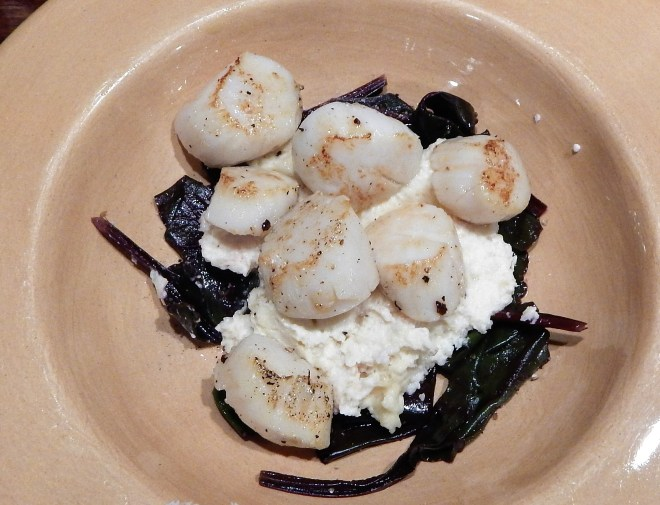 SAUTEED SEA SCALLOPS WITH CELERIAC PUREE AND WILTED BEET GREENS