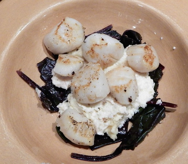 Sauteed Scallops with Celeriac Puree and Wilted Beet Greens