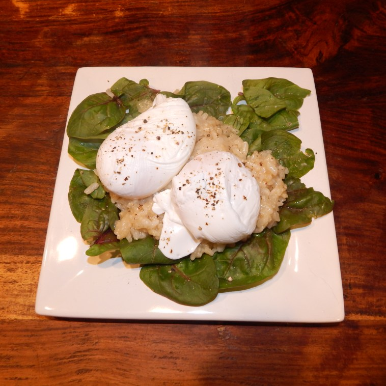 "A DELICIOUS BREAKFAST CONSISTING OF ""RED KITTEN"" SPINACH, LEFTOVER MUSHROOM RISOTTO AND POACHED EGGS FROM OUR OWN CHICKENS"