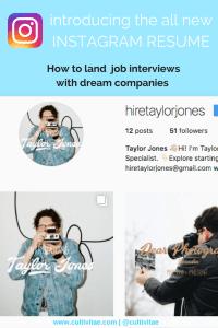 Instagram Resume by Taylor Jones