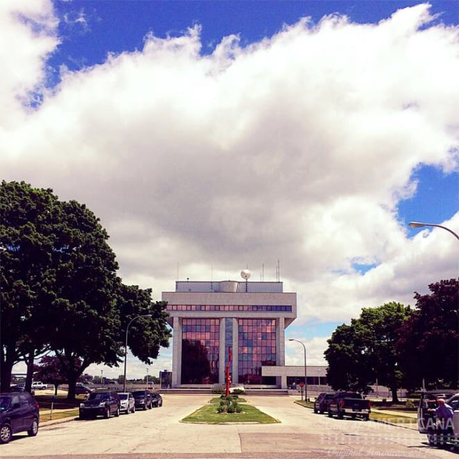 Port Huron, MI city hall, just across from Sarnia, ON, Canada. [Half-Mast]