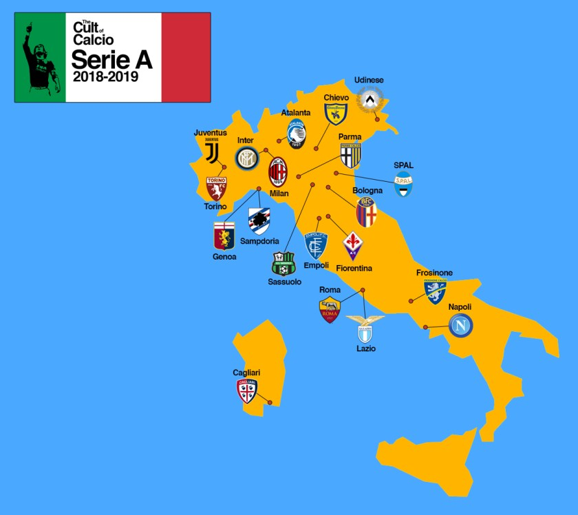 Juventus Italy Map.The Provisional Map Of Italian Serie A 2018 2019 The Cult Of Calcio