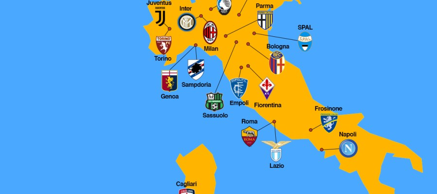 The Provisional Map Of Italian Serie A 2018 2019 The Cult Of Calcio