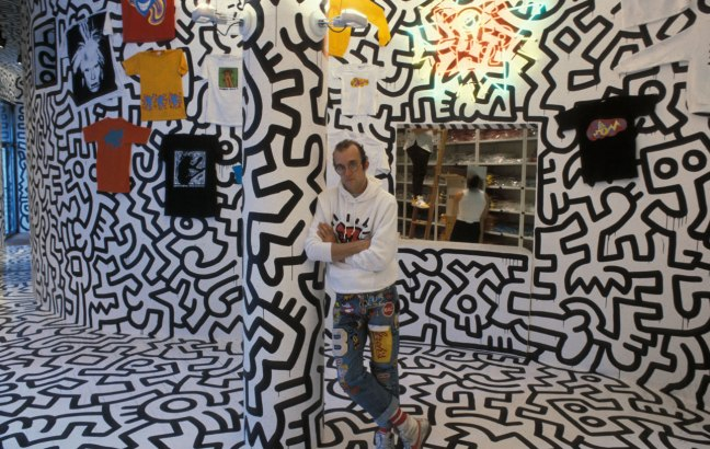 Keith Haring in his Pop Shop