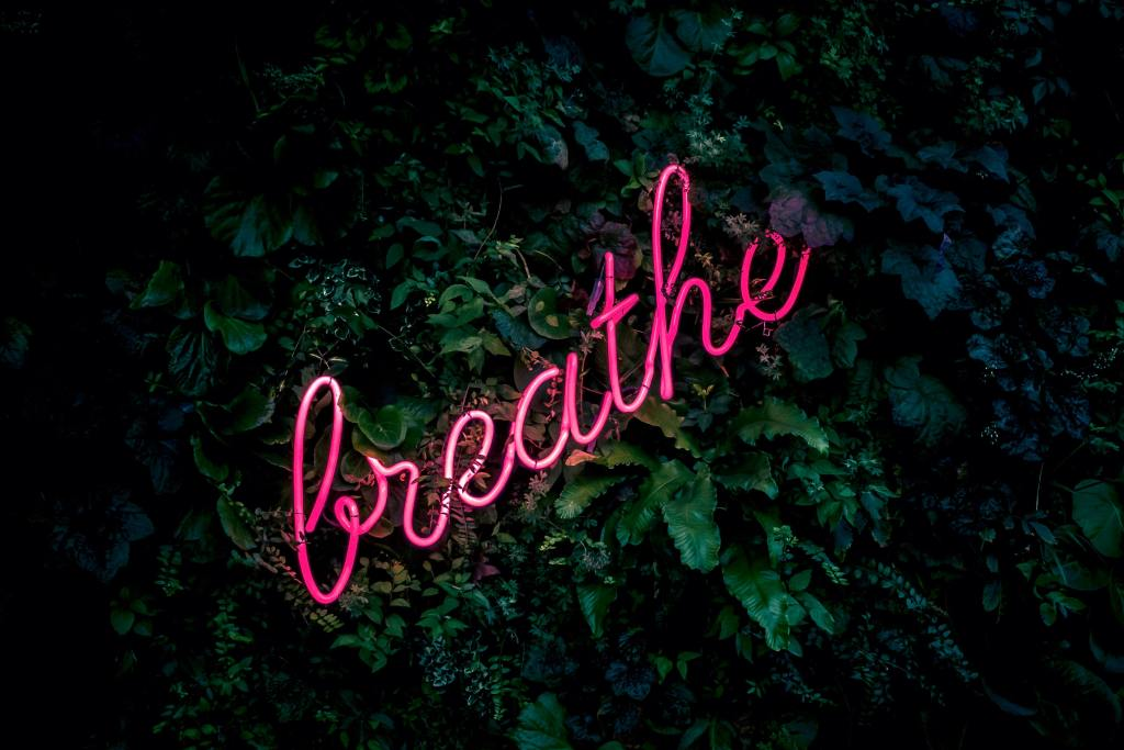 "Pink neon sign that says ""breathe"""