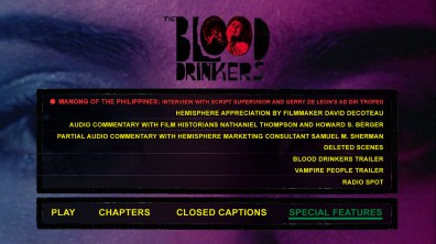 The Blood Drinkers special features menu