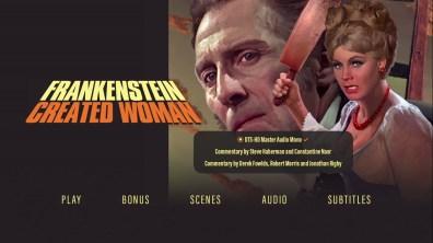 Frankenstein Created Woman audio menu