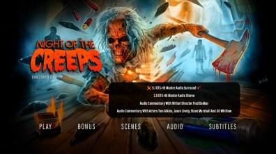 Night of the Creeps Director's Cut audio menu