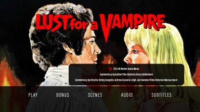 Lust for a Vampire audio menu