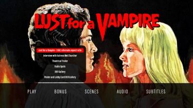 Lust for a Vampire extras menu