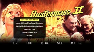 Quatermass II extras menu