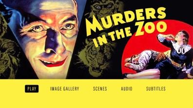Murders in the Zoo Blu-ray menu