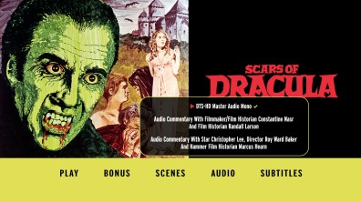 Scars of Dracula audio menu